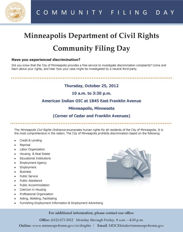 Community Filing Day Thursday October 26, 2012