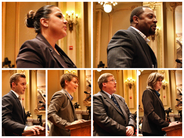 Andrea Brown (top left), Andre Dukes (top right) and Michael Weinbeck (bottom left) are mayoral appointments to the Oversight Commission. The Committee also forwarded the appointments of Jennifer Singleton, Andrew Buss, Sarah Rude (bottom right), and Al Giraud (not pictured).