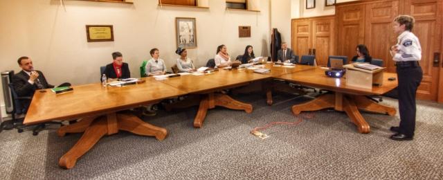 Deputy Chief Kris Arneson addresses the PCOC
