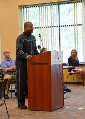 Community member Donald Joseph shares his thoughts on body cameras with the Commission