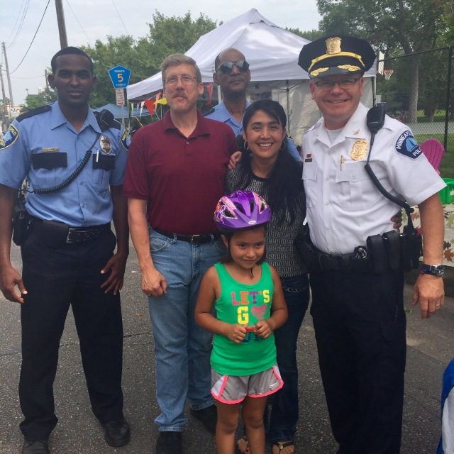 Commissioners Andrew Buss and Adriana Cerrillo attend the Open Streets event on August 16th. Pictured with the Commissioners are Third Precinct Inspector Michael Sullivan, and MPD Officers.