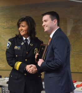 OPCR Law Enforcement Analyst Ryan Patrick Receives Award of Merit from Police Chief Janeé Harteau