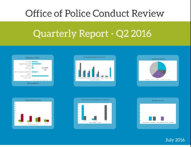 A slide from the OPCR Q2 2016 report presented to the PCOC.